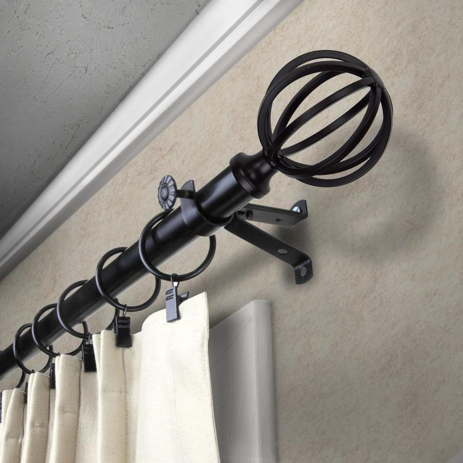 rod desyne 13 16 in cage 120 in to 170 in black steel single curtain rod
