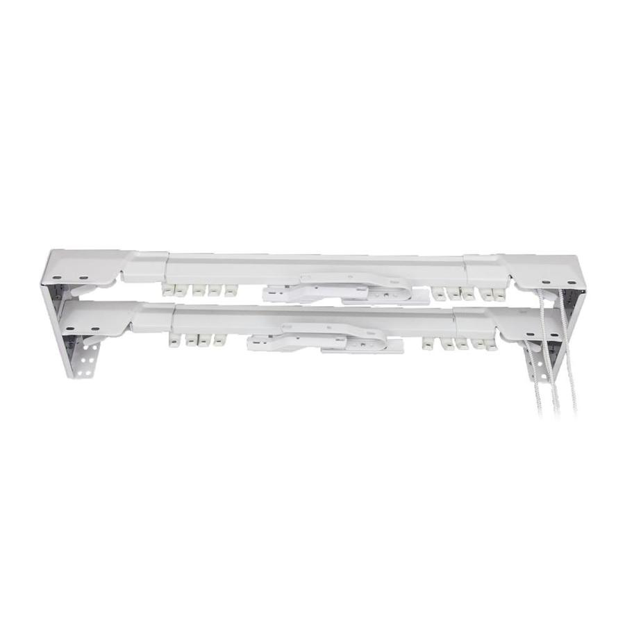 rod desyne center open 84 in to 156 in white steel double traverse curtain rod