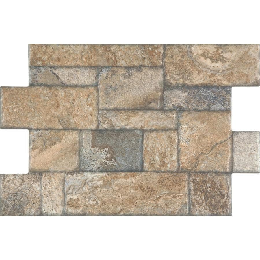 style selections carmen brown 16 in x 24 in glazed porcelain patterned floor tile