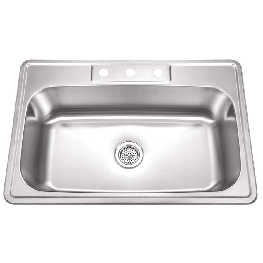superior sinks drop in 33 in x 22 in brushed satin single bowl 4 hole kitchen sink