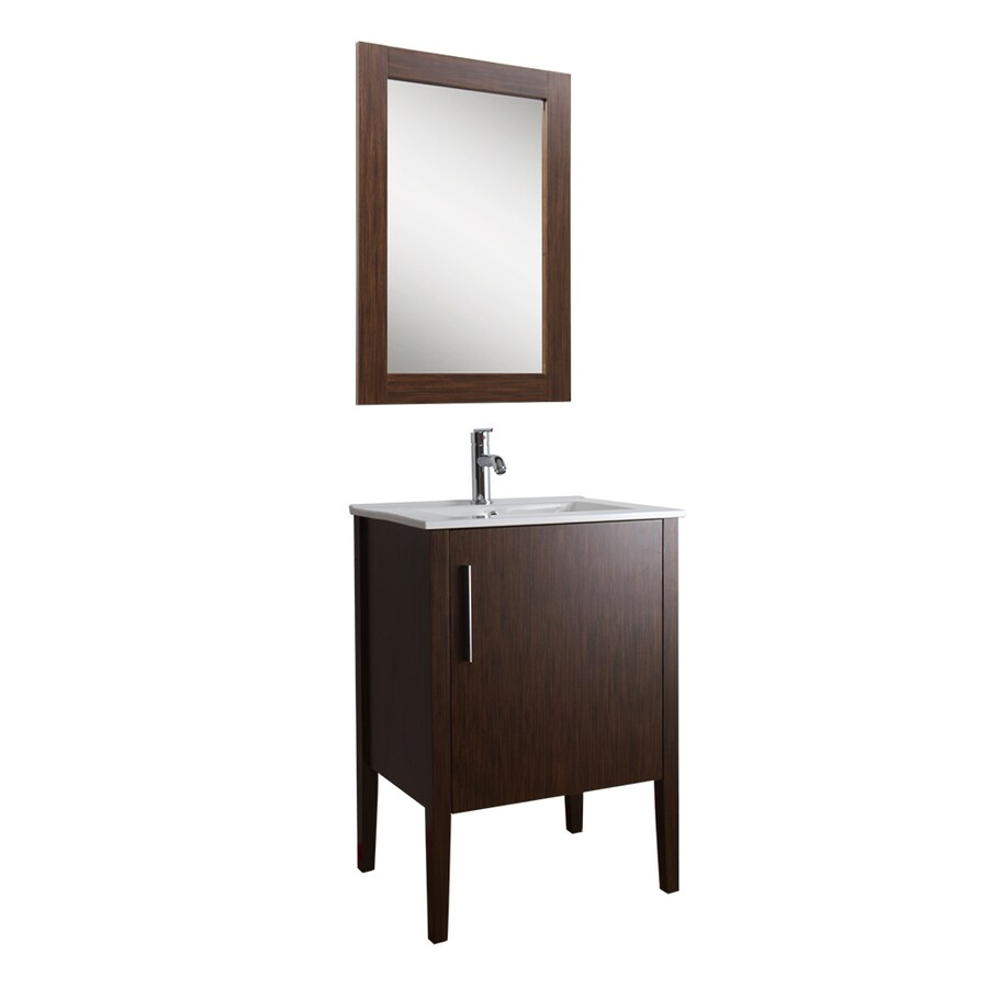 vigo maxine single sink bathroom vanities wenge integral single sink bathroom vanity with vitreous china top common 24 in x 18 in actual 24 in x 18 25 in in the bathroom vanities with tops department at