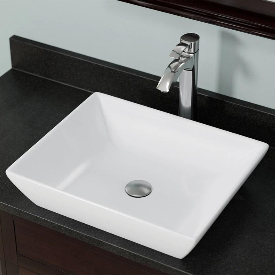 mr direct white porcelain vessel rectangular bathroom sink 19 63 in x 16 in