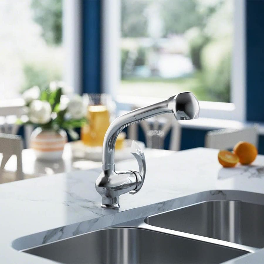 sir faucet chrome 1 handle deck mount pull out handle kitchen faucet