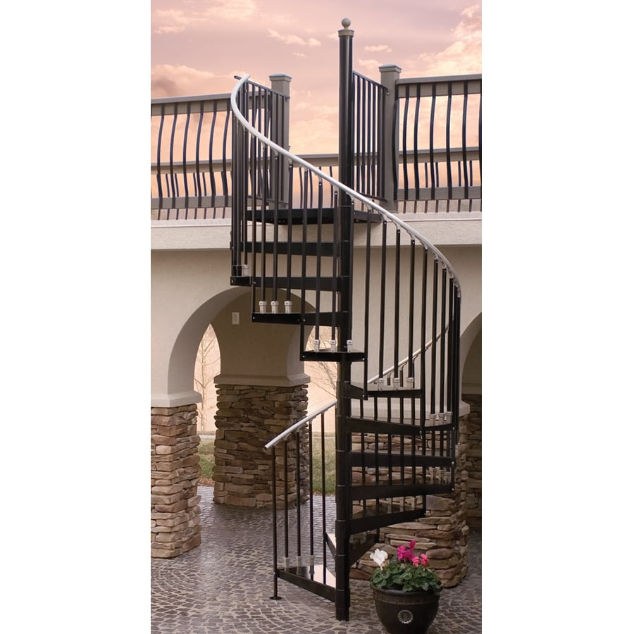 The Iron Shop Houston 42 In X 10 25 Ft Black Spiral Staircase Kit   8 Ft Spiral Staircase   Staircase Ideas   Prefab   Curved Staircase   Staircase Remodel   Wood