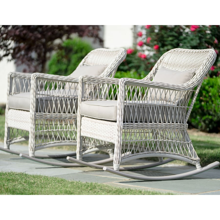 leisure made pearson set of 2 wicker off white metal frame rocking chair s with solid cushioned seat