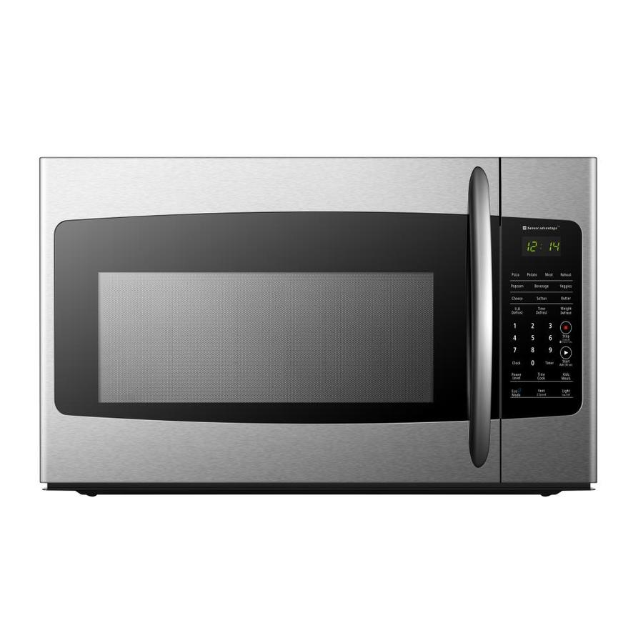hisense 1 7 cu ft over the range microwave with sensor cooking stainless steel front and black housing