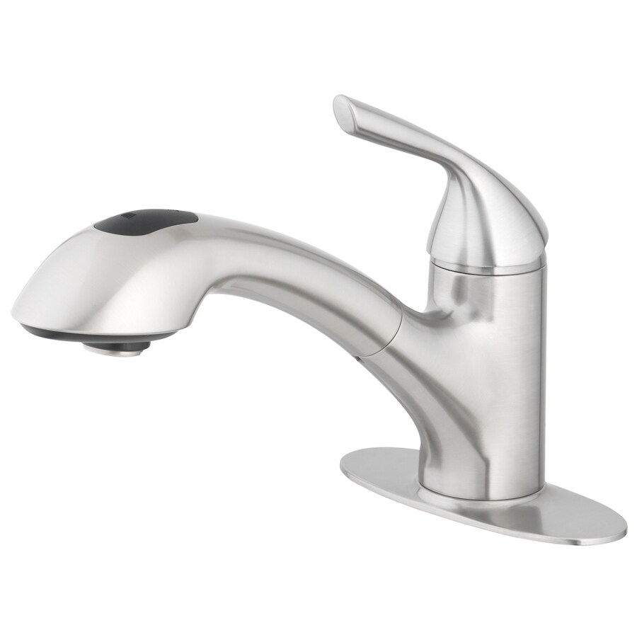 home2o stainless steel 1 handle utility faucet with with pulldown sprayer lowes com