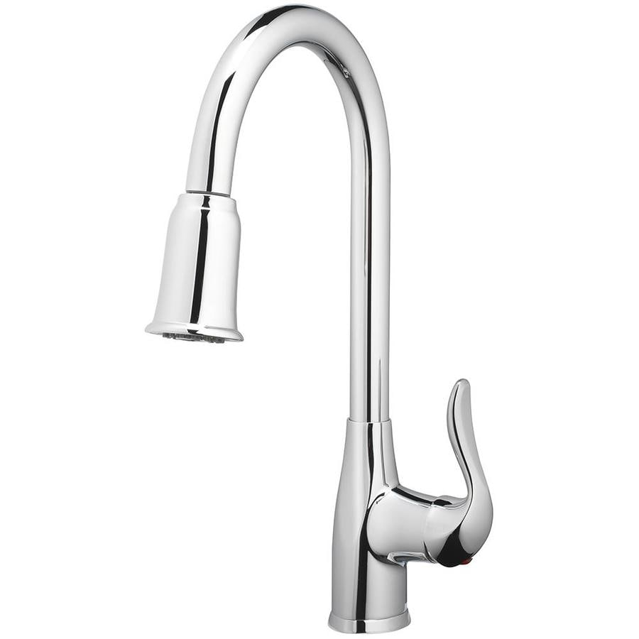 home2o zinnia chrome 1 handle deck mount pull down handle kitchen faucet