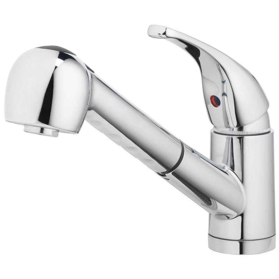 home2o schyler chrome 1 handle deck mount pull out handle kitchen faucet deck plate included