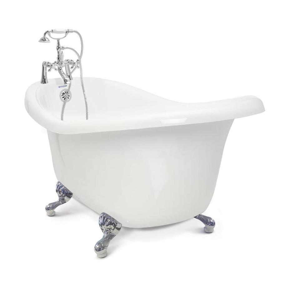 american bath factory chelsea 32 5 in w x 60 in l white acrylic oval reversible drain clawfoot soaking bathtub with faucet