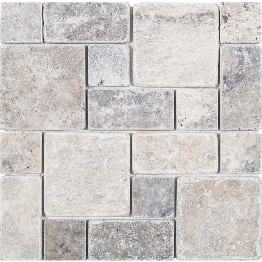 satori silver crescent 12 in x 12 in honed natural stone travertine versailles stone look wall tile