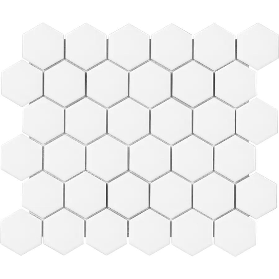 satori hudson brilliant white matte 11 in x 12 in matte porcelain hexagon wall tile lowes com