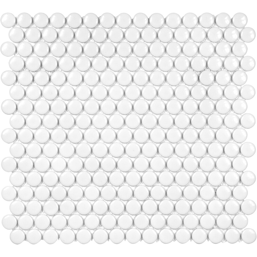 satori hudson brilliant white glossy 12 in x 12 in glossy porcelain penny round floor and wall tile