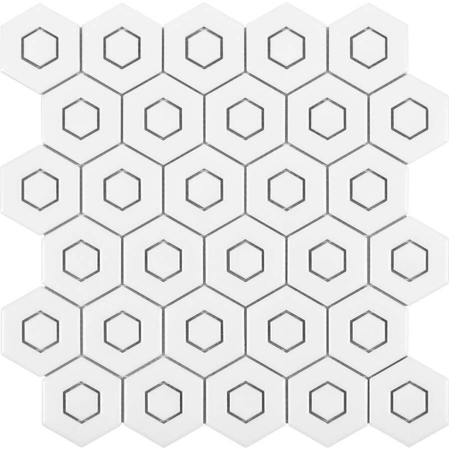 satori hudson brilliant white 12 in x 12 in matte porcelain honeycomb wall tile lowes com