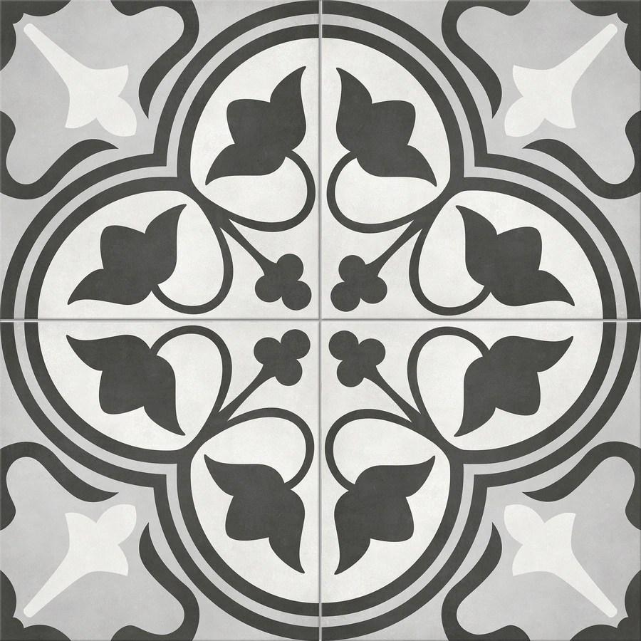 satori nouveau flora deco 8 in x 8 in matte porcelain encaustic floor and wall tile lowes com
