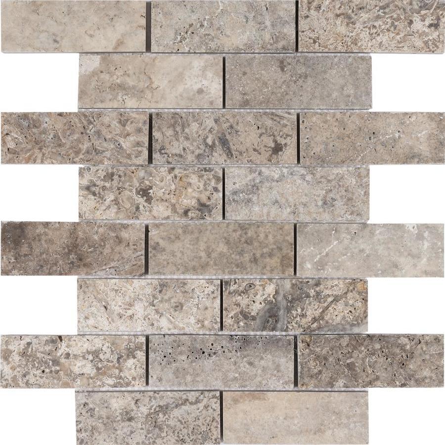 satori silver crescent brick 10 in x 12 in honed natural stone travertine brick brick look floor and wall tile