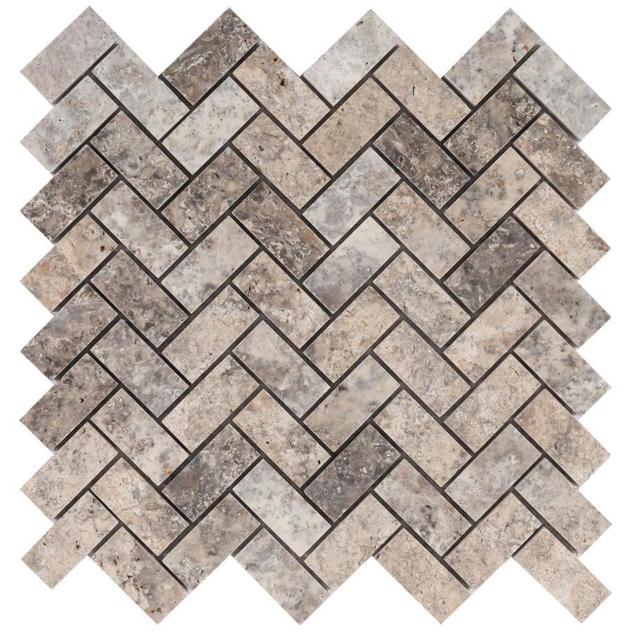 satori silver crescent herringbone 12 in x 12 in honed natural stone travertine herringbone wall tile