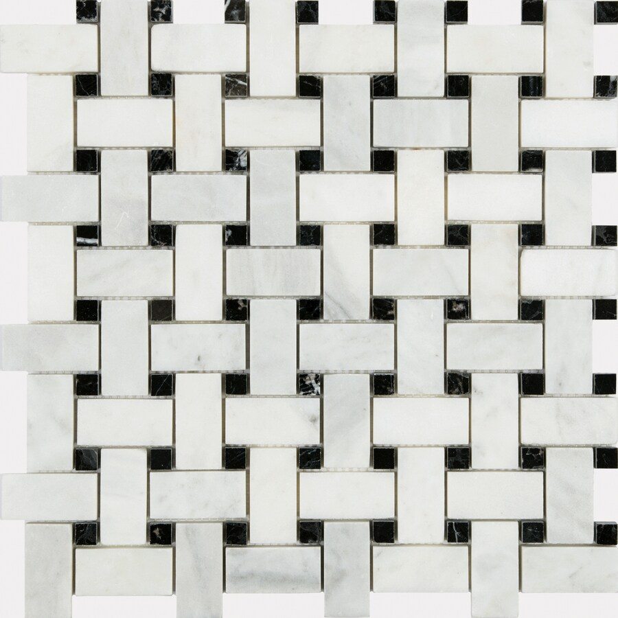 satori venatino polished 12 in x 12 in polished natural stone marble basketweave wall tile lowes com