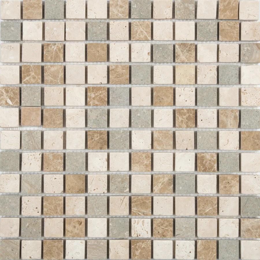 satori countryside 12 in x 12 in multi finish natural stone travertine uniform squares wall tile