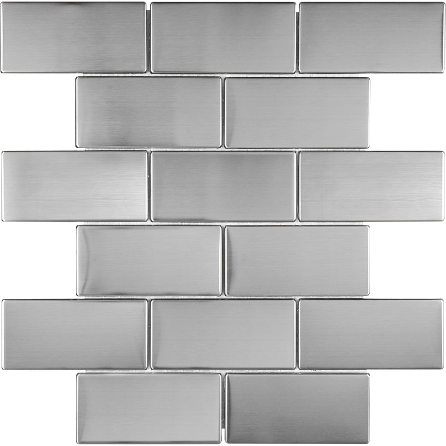 stainless steel 12 in x 12 in metallic stainless steel brick wall tile lowes com