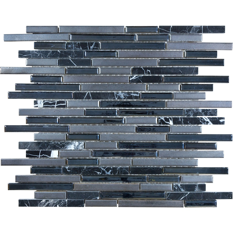 anatolia tile indigo porcelain linear mosaic glass metal stone marble wall tile common 12 in x 12 in actual 11 61 in x 12 55 in