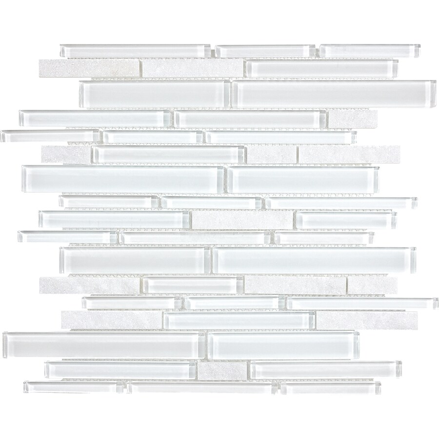 anatolia tile alaskan white linear mosaic stone and glass quartz wall tile common 12 in x 12 in actual 11 61 in x 11 85 in