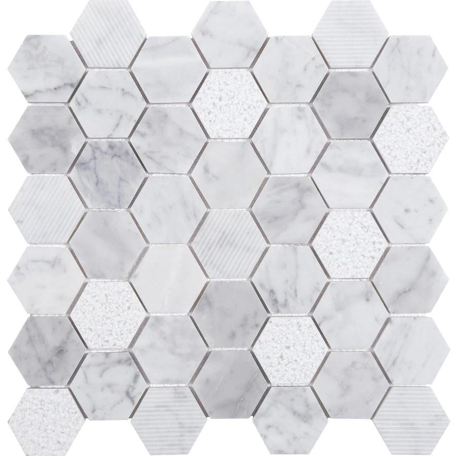 satori carrara 12 in x 12 in multi finish natural stone marble honeycomb wall tile