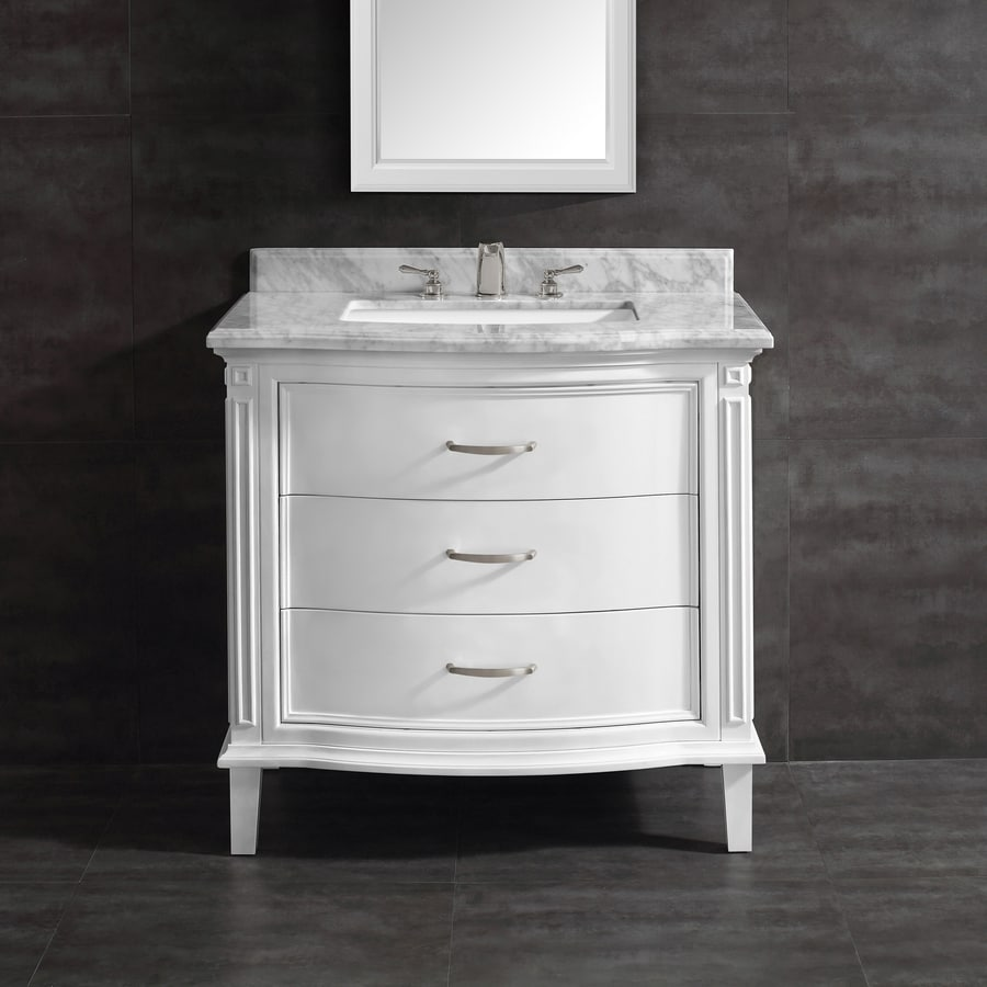 ove decors rachel 36 in white single sink bathroom vanity with carrara white natural marble top
