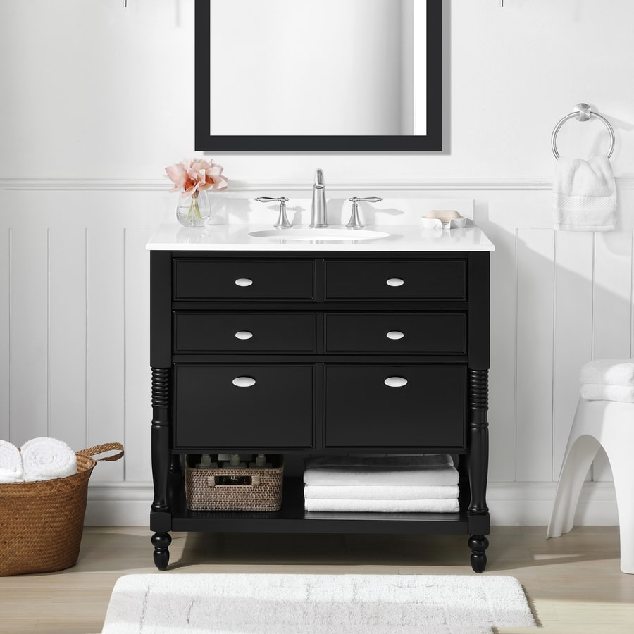 ove decors elizabeth 36 in espresso single sink bathroom vanity with white cultured marble top
