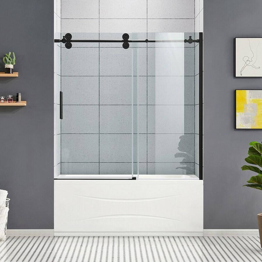OVE Decors Sydney Frameless Black Sliding Bathtub Door At