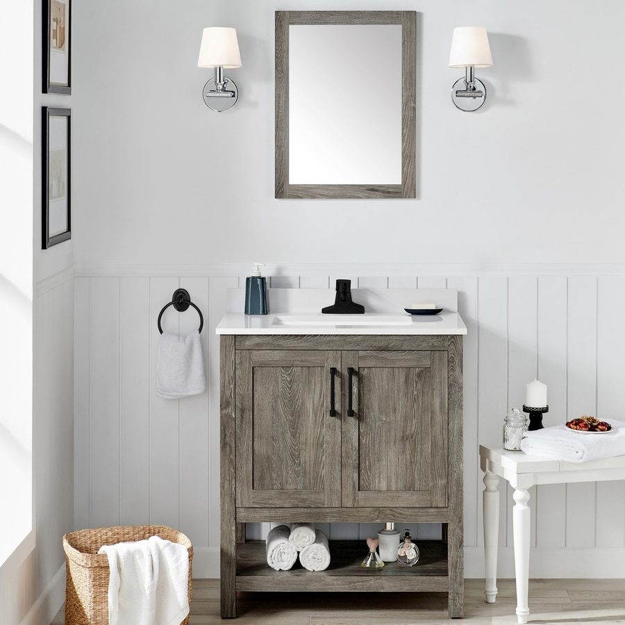 ove decors charles 30 in weathered gray undermount single sink bathroom vanity with white engineered stone top mirror included