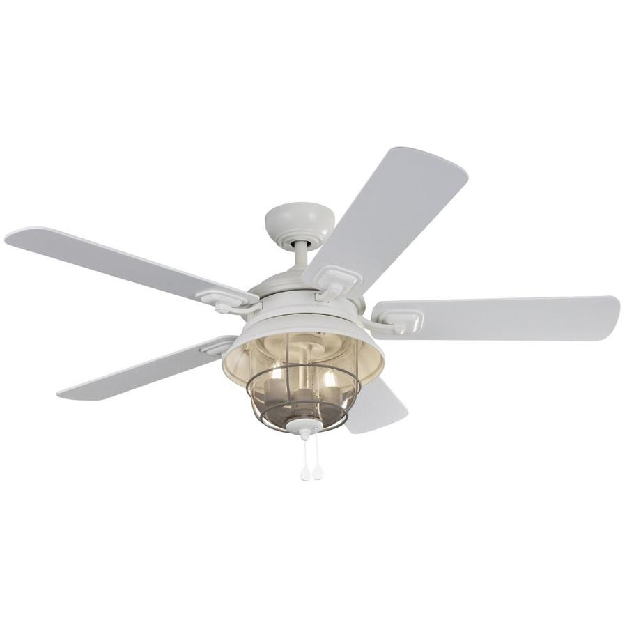 harbor breeze altissa 52 in matte white led indoor outdoor ceiling fan with light 5 blade lowes com