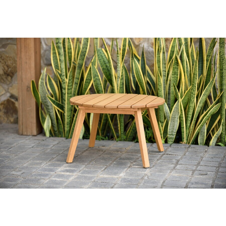 international home amazonia eucalyptus round outdoor coffee table 20 in w x 20 in l with