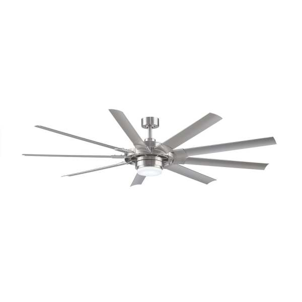 Shop Ceiling Fans at Lowes com Fanimation Studio Collection Slinger v2 72 in Brushed Nickel LED  Indoor Outdoor Downrod Mount