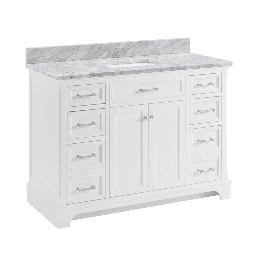shop allen + roth roveland white undermount single sink bathroom