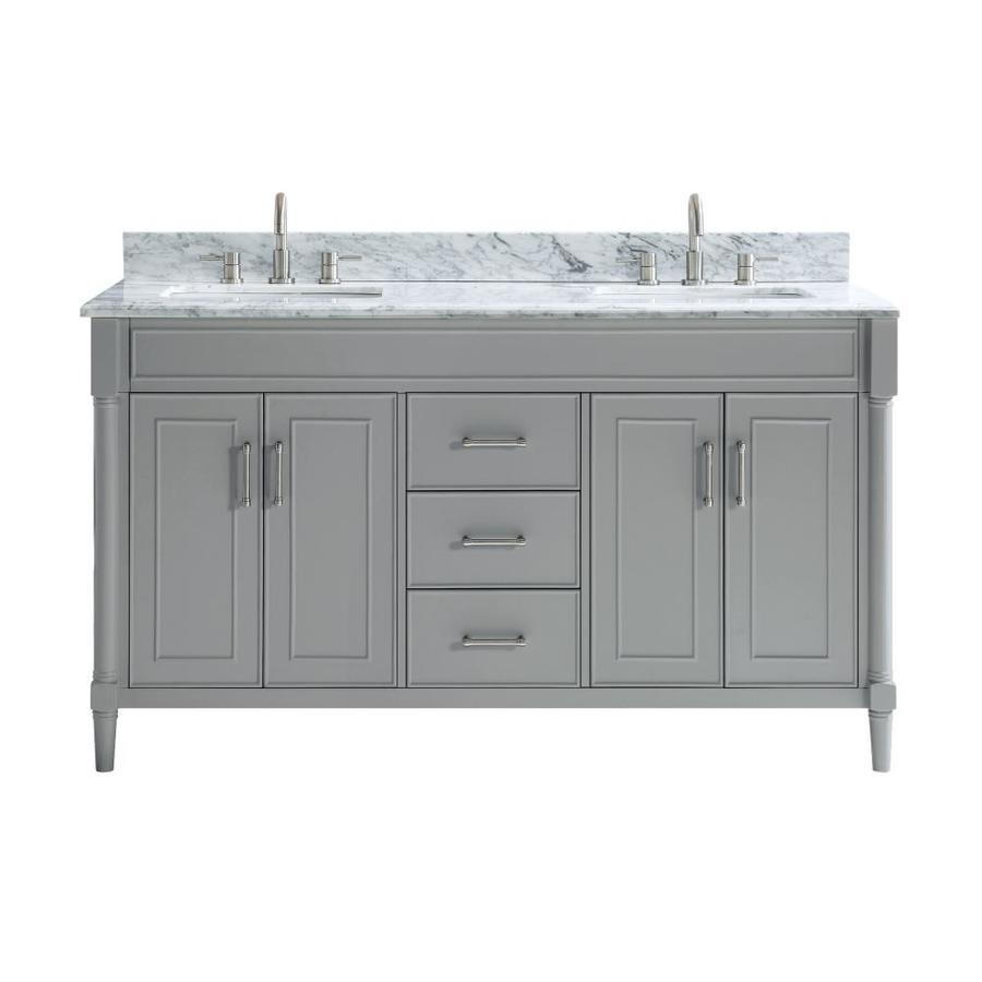 allen roth perrella 61 in light gray undermount double sink bathroom vanity with carrera white natural marble top