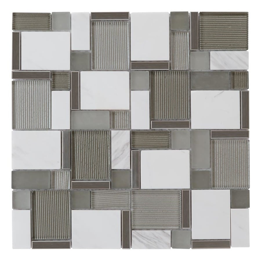 allen roth essentials modern cubes 12 in x 12 in glossy glass metal stone marble wall tile