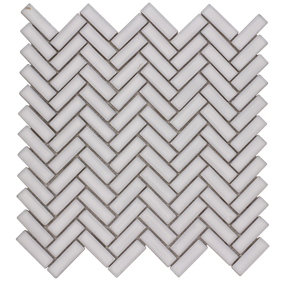 elida ceramica chelsea white 12 in x 12 in ceramic herringbone mosaic wall tile common 12 in x 12 in actual 11 in x 11 in