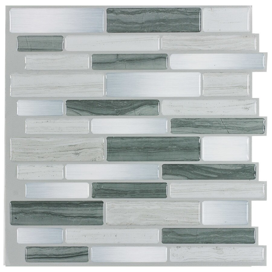 peel stick mosaics peel and stick mosaics grey mist 10 in x 10 in glossy composite linear peel and stick wall tile