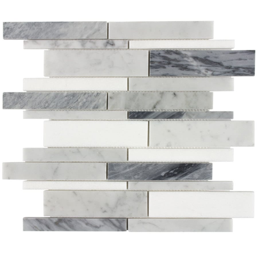 elida ceramica bianca blended 12 in x 12 in polished natural stone marble linear wall tile