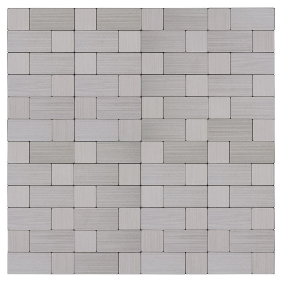 peel stick mosaics peel and stick stainless block 12 in x 12 in metallic metal linear peel and stick wall tile