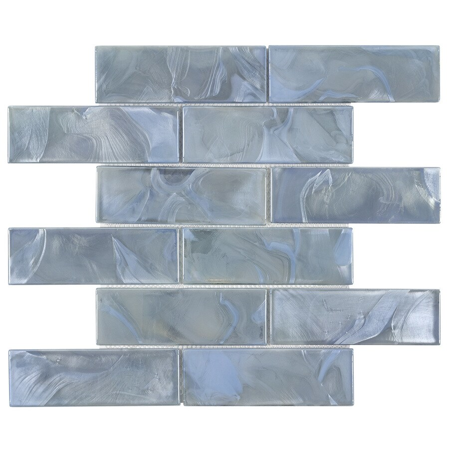 elida ceramica blue 12 in x 12 in glossy glass brick subway wall tile lowes com