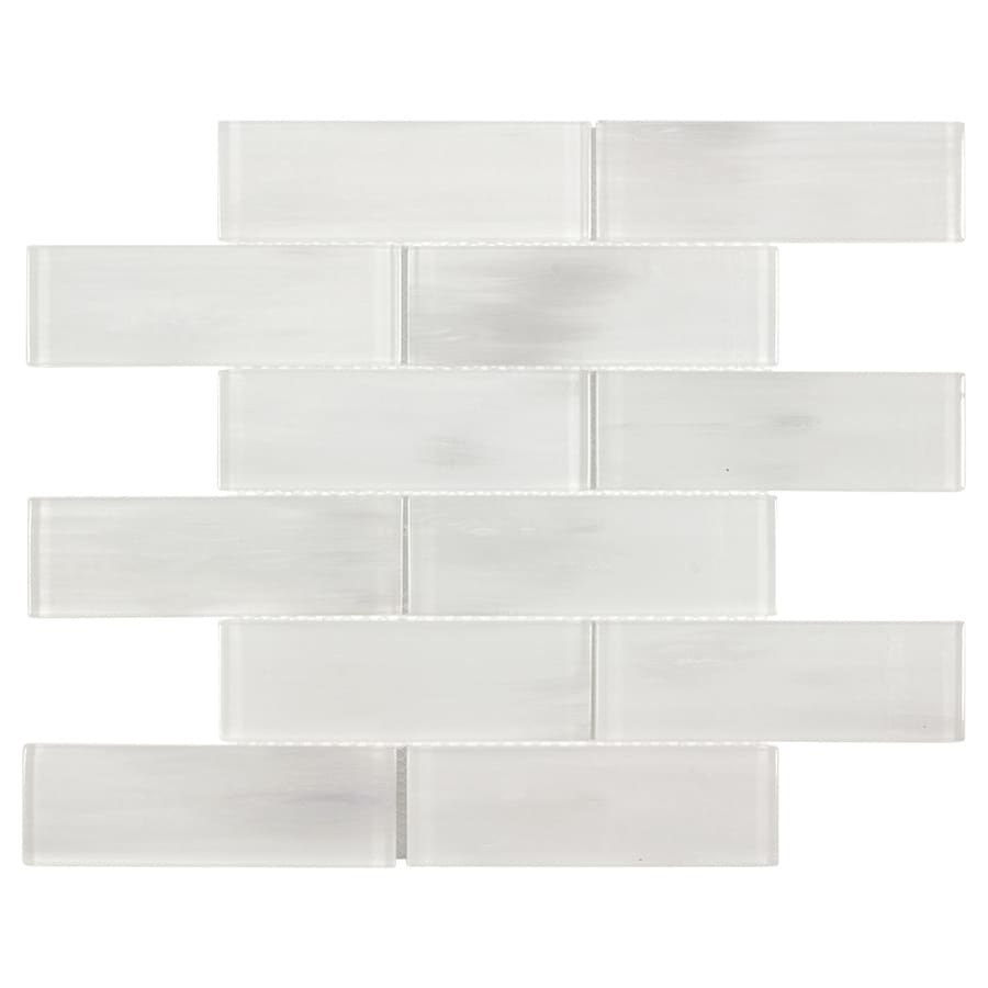 elida ceramica white 12 in x 12 in glossy glass brick subway wall tile