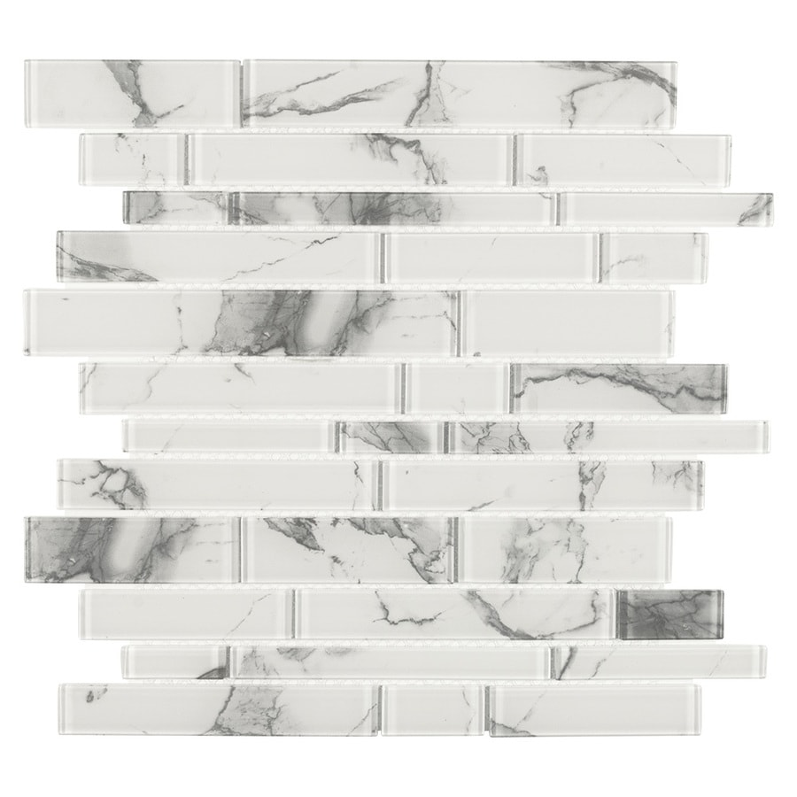 elida ceramica white 12 in x 12 in glossy glass linear marble look wall tile