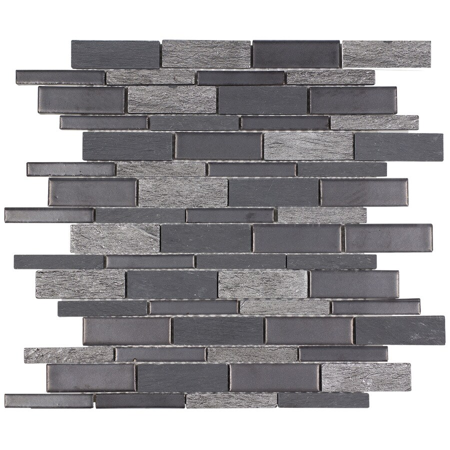 elida ceramica dark mountain 12 in x 12 in crackled natural stone slate linear wall tile