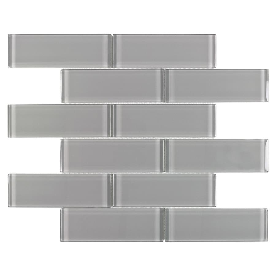 elida ceramica gray 12 in x 12 in glossy glass brick subway wall tile