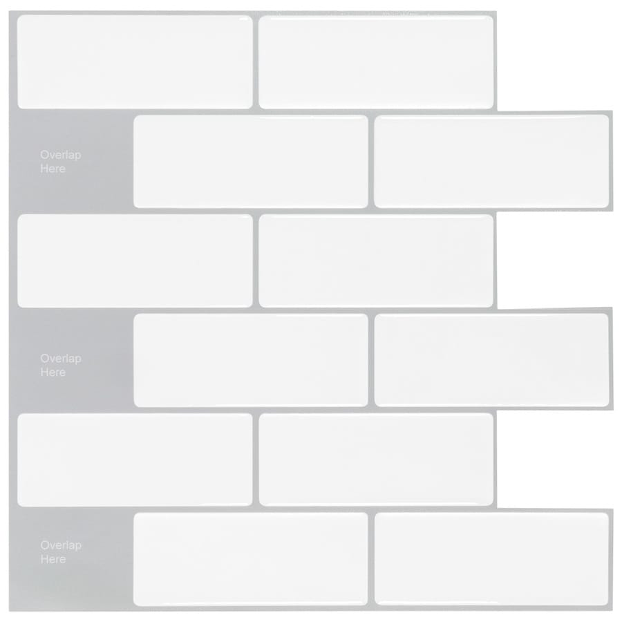 peel stick mosaics peel and stick mosaic white subway 10 in x 10 in glossy composite linear peel and stick wall tile lowes com