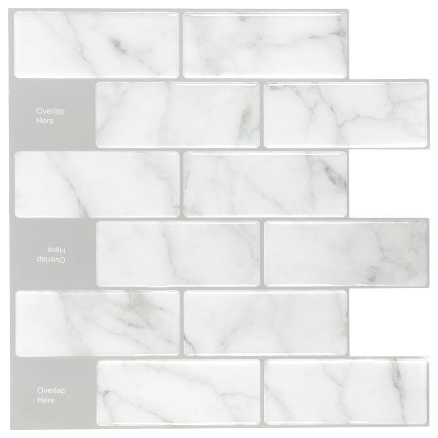 peel stick mosaics peel and stick mosaic carrara subway 10 in x 10 in glossy composite linear peel and stick wall tile lowes com