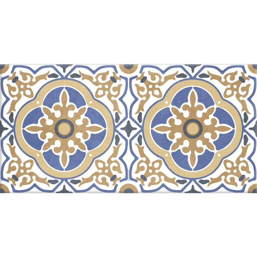 style selections milari 7 pack deco 12 in x 24 in matte porcelain encaustic floor and wall tile