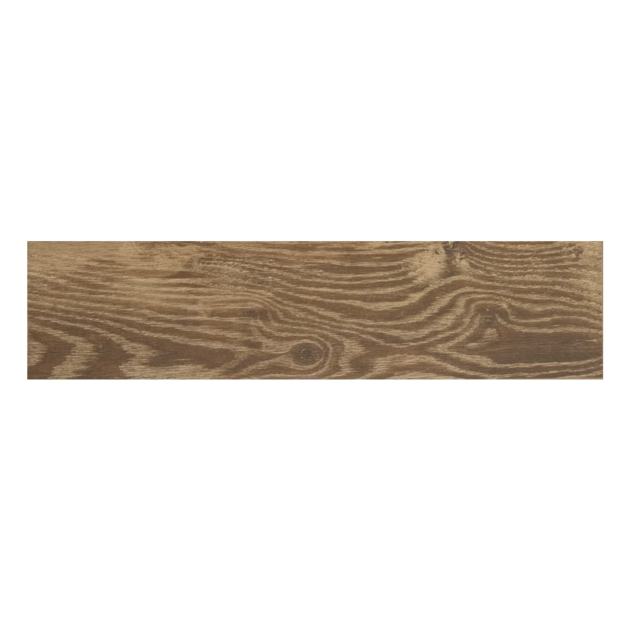 style selections natural timber cinnamon 6 in x 24 in glazed porcelain wood look tile